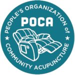 green logo with recliner and words POCA People's Organization of Community Acupuncture