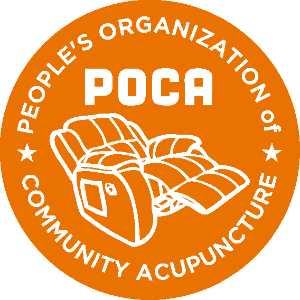 Orange POCA logo showing recliner outlined in white with white words that say POCA People's Organizatio of Community Acupuncture