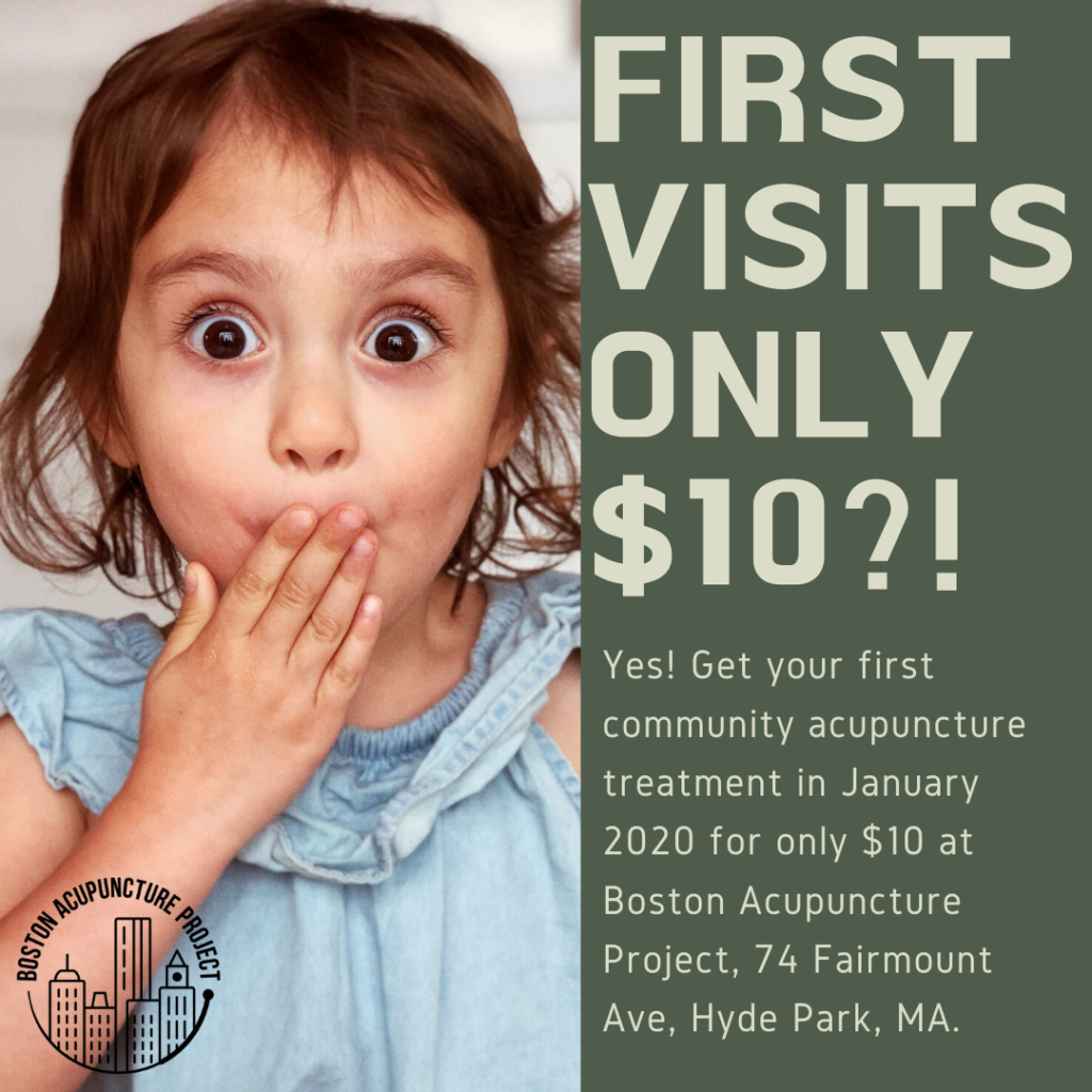 IMAGE: little kid who looks like they just ate something amazing and delicious. Text says: FIRST VISITS ONLY $10?! YES! Get your first community acupuncture treatment in January 2020 for only $10 at Boston Acupuncture Project, 74 Fairmount Ave, Hyde Park, MA.