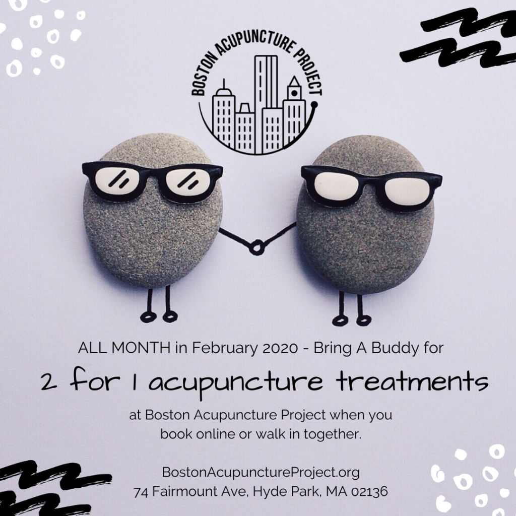 image: 2 cartoon rock buddies with sunglasses holding hands. Text: all month in February 2020 - Bring A Buddy for 2 for 1 acupuncture treatments at Boston Acupuncture Project when you book online or walk in together. BostonAcupunctureProject.org 74 Fairmount Ave, Hyde Park, MA 02136.