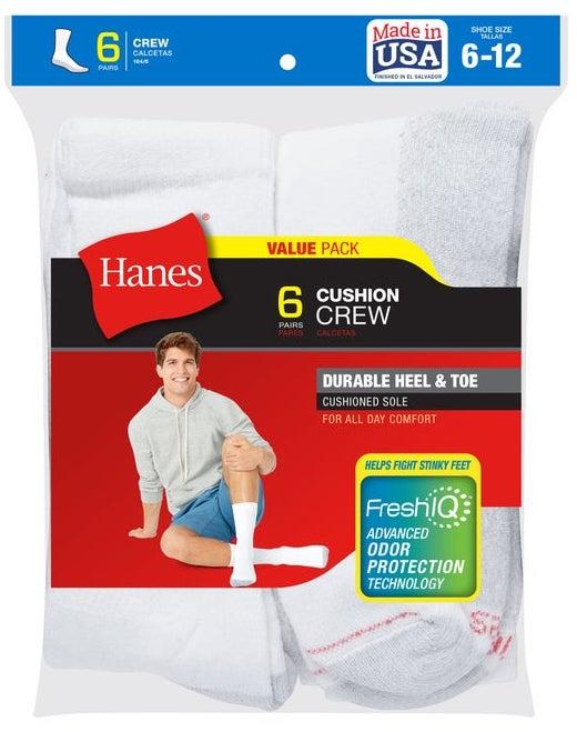Stock photo of Hanes white Cushion Crew socks