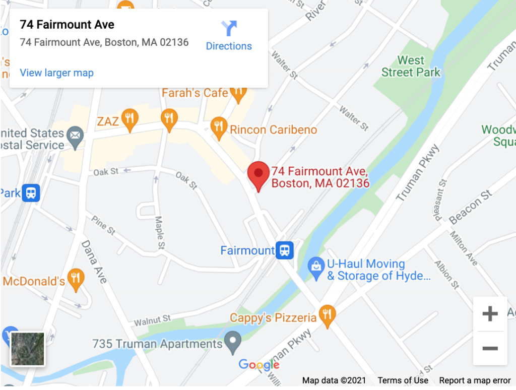Google Map showing location of clinic at 74 Fairmount Ave, Hyde Park, Boston, MA 02136