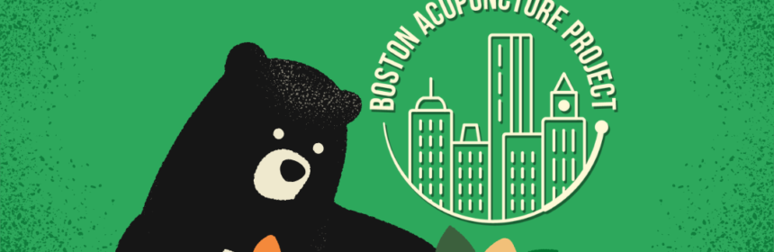 Cartoon bear decorates cartoon fox with autumn leaves on green background. Heading says Bring A Buddy Special Oct. 12-18 with Boston Acupuncture Project logo.